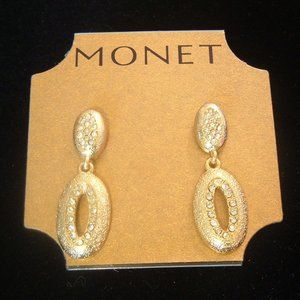 Monet Gold Tone Crystal Dangle Pierced Earrings